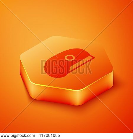 Isometric Military Beret Icon Isolated On Orange Background. Soldiers Cap. Army Hat. War Baret. Oran