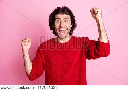 Portrait Of Young Happy Excited Ecstatic Positive Good Mood Man Raise Fists In Victory Isolated On P