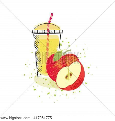 Apple Juice, Cocktails, Cocktail In A Glass With A Straw. An Entire Apple And A Half-cut Apple.vecto