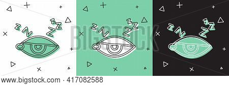 Set Insomnia Icon Isolated On White And Green, Black Background. Sleep Disorder With Capillaries And