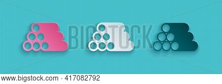 Paper Cut Wooden Logs Icon Isolated On Blue Background. Stack Of Firewood. Paper Art Style. Vector