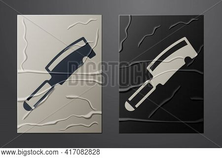 White Meat Chopper Icon Isolated On Crumpled Paper Background. Butcher Knife. Kitchen Knife For Meat