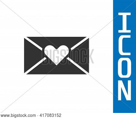 Grey Envelope With Valentine Heart Icon Isolated On White Background. Message Love. Letter Love And