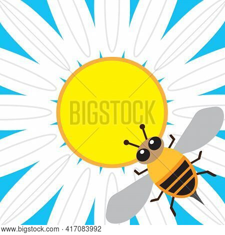 A Flat Vector Honey Bee Is Getting Ready To Pollinate A Daisy
