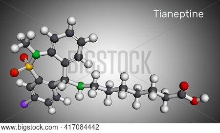 Tianeptine Molecule. It Is Tricyclic Antidepressant Tca. Molecular Model. 3d Rendering. 3d Illustrat