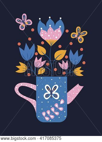 Folk Art In A Rectangle On A Dark Background, Folk Art Vector Pattern With Flowers And Teapot, Flora