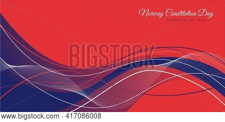 Norway Constitution Day Design With Red And Blue Abstract Background. Good Template For Norway Natio