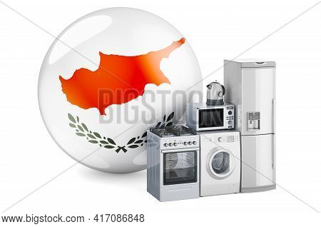 Kitchen And Household Appliances With Cypriot Flag. Production, Shopping And Delivery Of Home Applia
