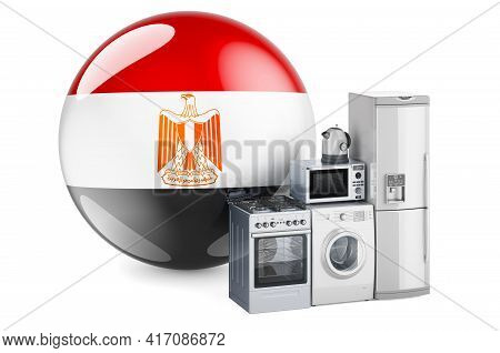 Kitchen And Household Appliances With Egyptian Flag. Production, Shopping And Delivery Of Home Appli