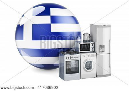 Kitchen And Household Appliances With Greek Flag. Production, Shopping And Delivery Of Home Applianc