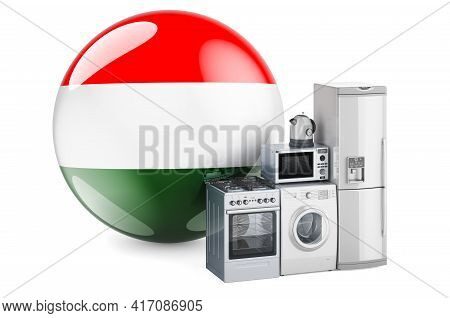 Kitchen And Household Appliances With Hungarian Flag. Production, Shopping And Delivery Of Home Appl