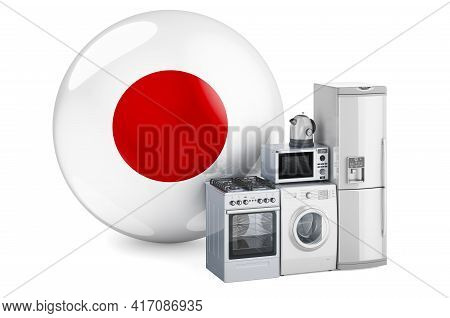 Kitchen And Household Appliances With Japanese Flag. Production, Shopping And Delivery Of Home Appli