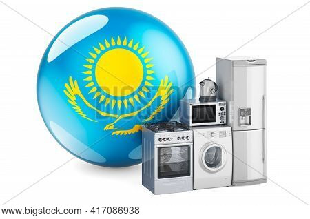 Kitchen And Household Appliances With Kazakh Flag. Production, Shopping And Delivery Of Home Applian