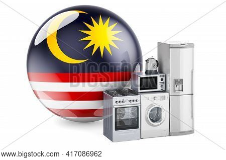 Kitchen And Household Appliances With Malaysian Flag. Production, Shopping And Delivery Of Home Appl