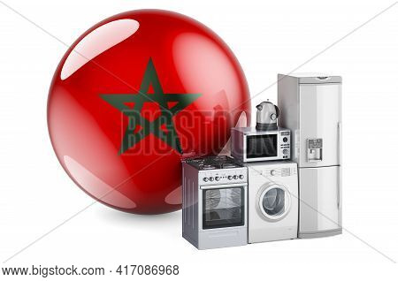 Kitchen And Household Appliances With Moroccan Flag. Production, Shopping And Delivery Of Home Appli