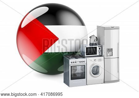 Kitchen And Household Appliances With Palestinian Flag. Production, Shopping And Delivery Of Home Ap
