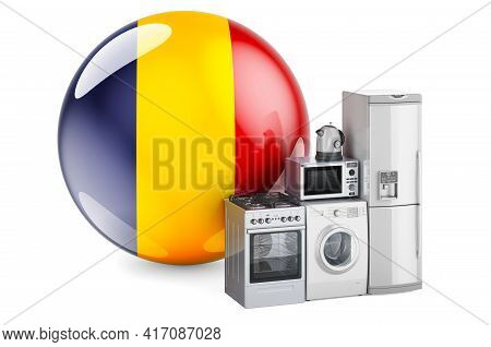 Kitchen And Household Appliances With Romanian Flag. Production, Shopping And Delivery Of Home Appli