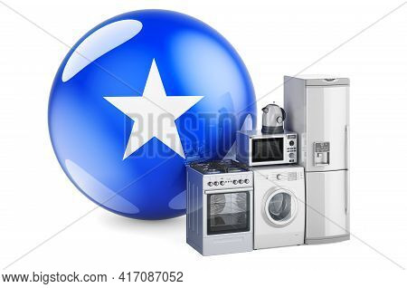 Kitchen And Household Appliances With Somali Flag. Production, Shopping And Delivery Of Home Applian