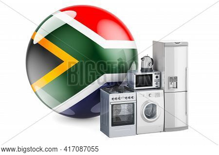 Kitchen And Household Appliances With South African Flag. Production, Shopping And Delivery Of Home