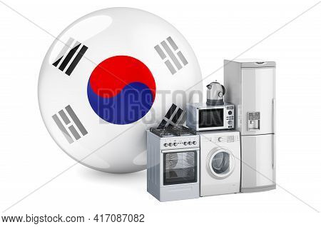 Kitchen And Household Appliances With South Korean Flag. Production, Shopping And Delivery Of Home A