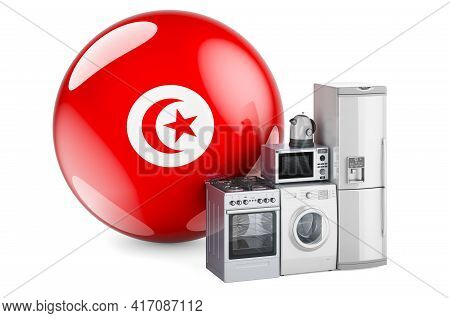 Kitchen And Household Appliances With Tunisian Flag. Production, Shopping And Delivery Of Home Appli