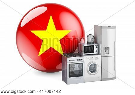 Kitchen And Household Appliances With Vietnamese Flag. Production, Shopping And Delivery Of Home App