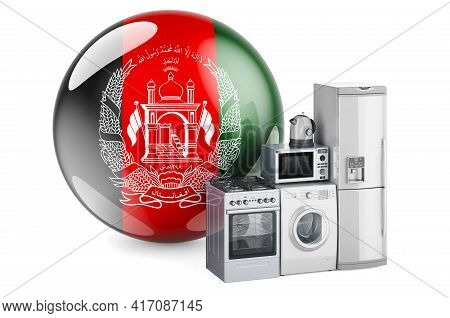 Kitchen And Household Appliances With Afghan Flag. Production, Shopping And Delivery Of Home Applian