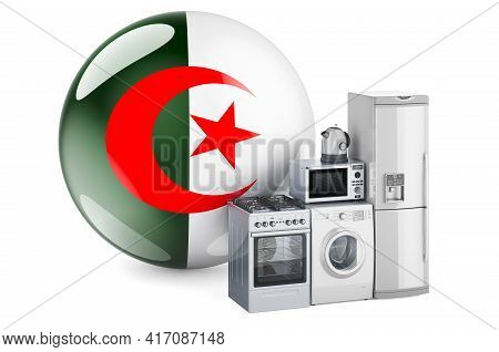 Kitchen And Household Appliances With Algerian Flag. Production, Shopping And Delivery Of Home Appli