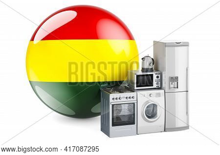 Kitchen And Household Appliances With Bolivian Flag. Production, Shopping And Delivery Of Home Appli