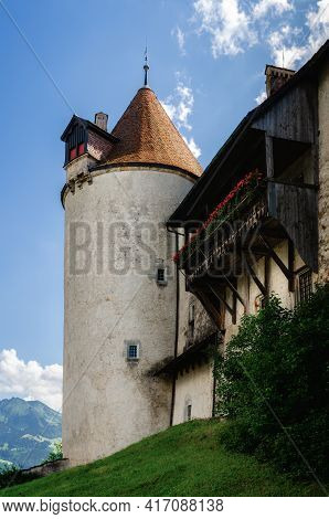 External View Of The Village Of Gruyeres, Famous Cheese Making Town Of Switzerland. Detail Ot Its Me