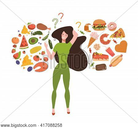 Healthy Vs Unhealthy Food Concept. Junk Versus Good Foods Diet Balance. Woman Choose Between Fresh M
