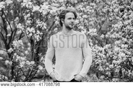 Botanical Garden. Botany And Nature. Man Flowers Background Defocused. Spring Beauty. Freshness And