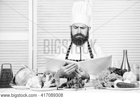 Dieting Organic Food. Cuisine Culinary. Vitamin. Healthy Food Cooking. Mature Hipster With Beard. Se
