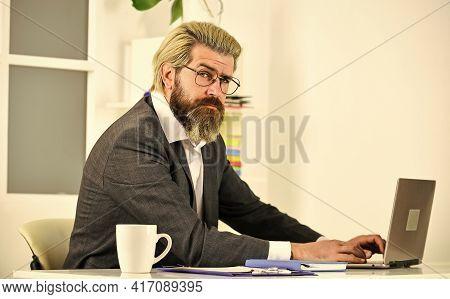 Desperation Sometimes Drives Innovation. Handsome Man Run Online Business. Sales Manager Work Online