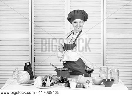 Woman Enjoy Cooking Food. Housekeeping And Culinary. Housewife Prepare Meal With Wine. Housewife Dai