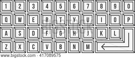 Line Qwerty Keyboard. Graphic Design Vector Illustration.