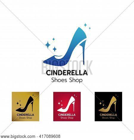 Stylized Image Of High Heel Shoe Logo Icon Emblem Template , Elegant Ladies Shoe Logo Design, Creati