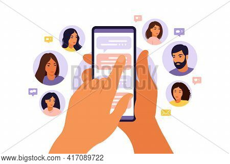 Refer A Friend Concept With Cartoon Hands Holding A Phone With A List Of Friends Contacts. Referral