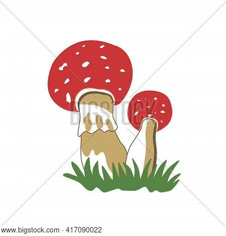 Red Mushroom Fly Agaric, Colored Hand Drawn Icon. An Element Of The Autumn Icon For Mobile Concepts