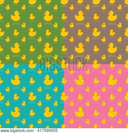 Set Of Seamless Pattern Of Yellow Rubber Duck On White Background  Vector Illustration