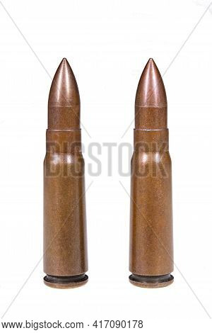 Military Cartridges Used In Submachine Guns. Live Ammunition Used In International Conflicts. Isolat