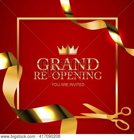 Grand Opening Congratulation Background Card With Golden Confetti Ribbon. Vector Illustration