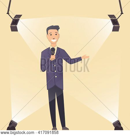 Television Show. Young Presenter Or Performer On A Standup Show On Stage. Man In Classic Style Cloth