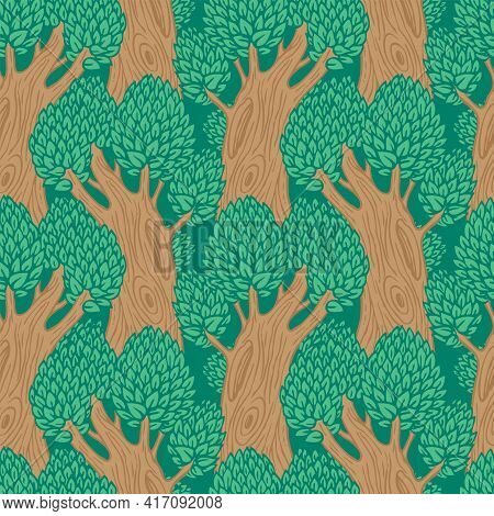Seamless Pattern With Old Stylised Trees. Vector Background With Beautiful Forest In A Flat Cartoon
