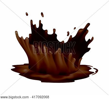 Realistic Chocolate Splashes. Drops Or Swirl Flow Of Liquid Cacao Food On White Background. Vector H