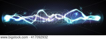 Realistic Lightning Bolt Powerful Discharge On Dark Background. Electric Wave From Side To Side. Thu