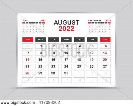 Calendar 2022 Template Minimal Style, August Month Artwork, Desk Calendar 2022 Year, Wall Calendar.
