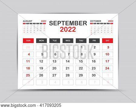 Calendar 2022 Template Minimal Style, September Month Artwork, Desk Calendar 2022 Year, Wall Calenda