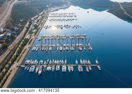 Aerial View Of The Yacht Club. Aerial Top-down View Of Docked Sailboats.