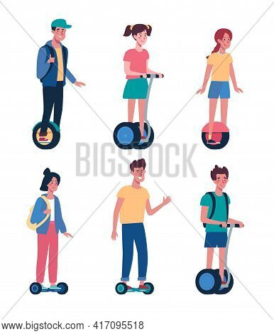 Flat Vector Collection With Kids On Electric Transport. Children Ride Gyroboards. .teenagers, Boys A